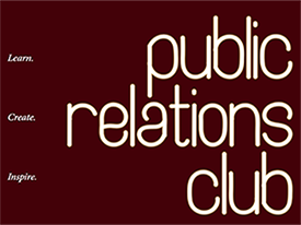 a picture of the PR club flyer designed in Dr. O'Brien's class