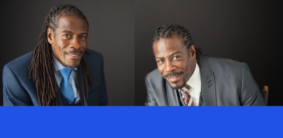A photo of twin poets Nnamdi Chukwuocha and Albert Mills by Cylinda McCloud-Keal